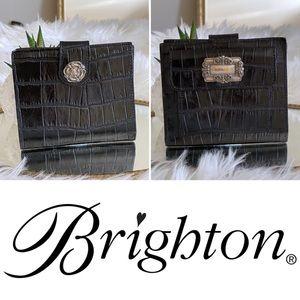 Brighton black croc embossed bifold leather wallet